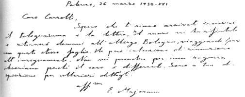 Ultima scrisoare Majorana