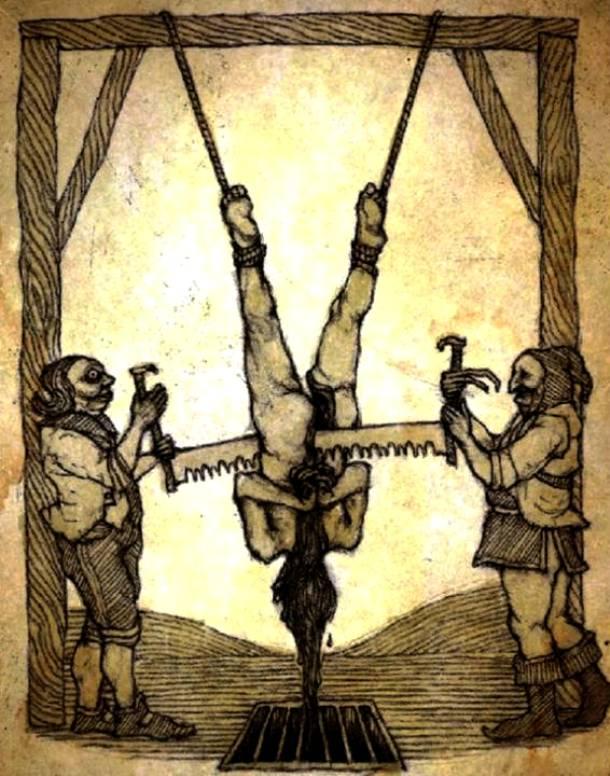 15. pedepse medievale - metode de tortura - tortura cu fierastraul