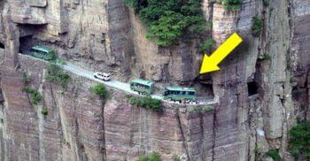 Cel mai periculos tunel din lume, săpat în stâncă doar cu forța brațelor