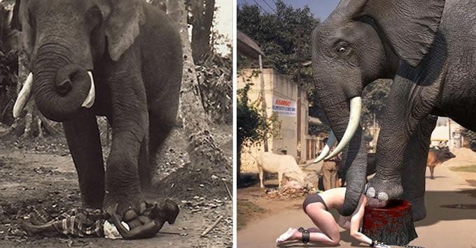 pedeapsa cu moartea strivit de elefant