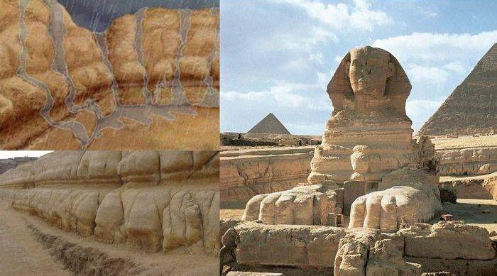 Sfinxul din Egipt - Eroziune apa