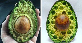 Artiștii sculptează tipare tradiționale în fructe și legume și le transformă în opere de artă