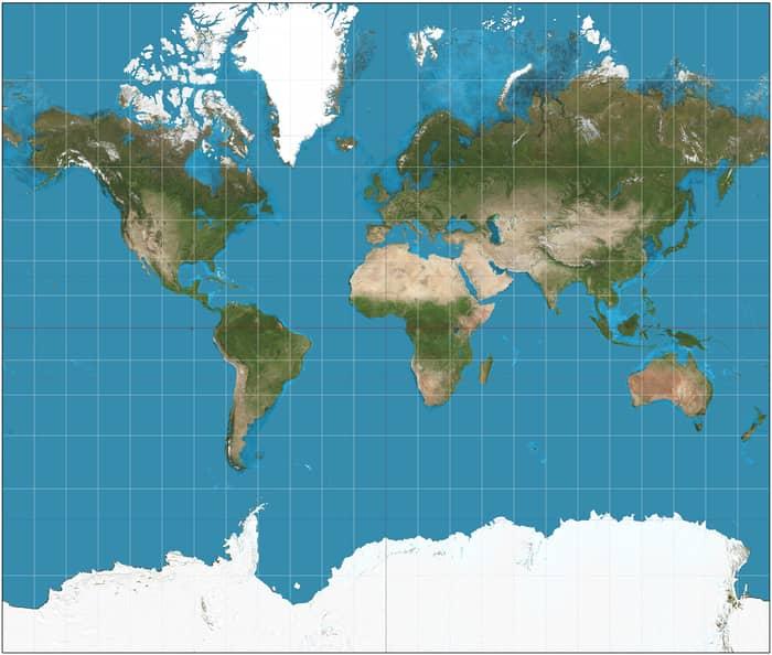 harta lumii mercator