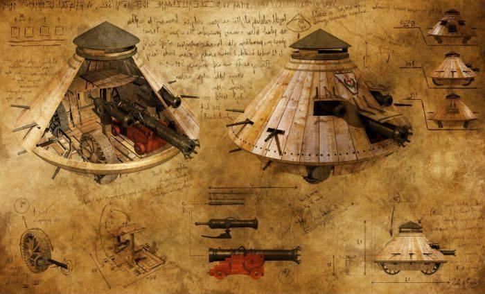 invențiile lui Leonardo da Vinci tancul