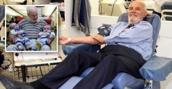James Harrison, omul care a donat 551 litri de sânge în 60 de ani, salvând 2.4 milioane de copii