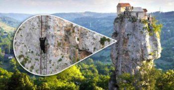 <mark>VIDEO</mark> Călugărul care trăiește izolat în vârful unei stânci de 40 de metri