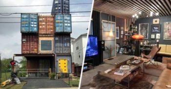 """Un bărbat și-a construit """"casa de vis"""", cu trei etaje, din 11 containere de marfă"""