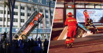 În China, o gaură uriașă a înghițit un autobuz întreg, cu tot cu pasageri și câțiva pietoni