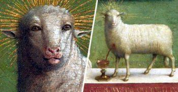 """Mielul cu """"față de om"""", scos la iveală după 500 de ani pe altarul unei catedrale din Belgia"""