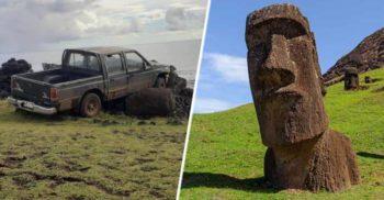 A intrat cu mașina într-o statuie de pe Insula Paștelui și a distrus-o