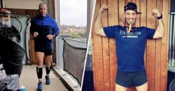 Un bărbat aflat în izolare a alergat maratonul pe balcon