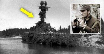 Nava care s-a strecurat printre inamici fiind camuflată în insulă