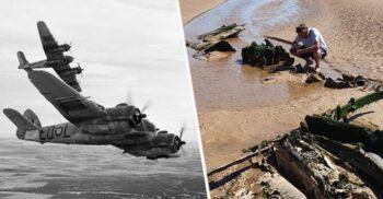 Avion echipat cu muniție din Al Doilea Război Mondial, găsit pe o plajă din Anglia