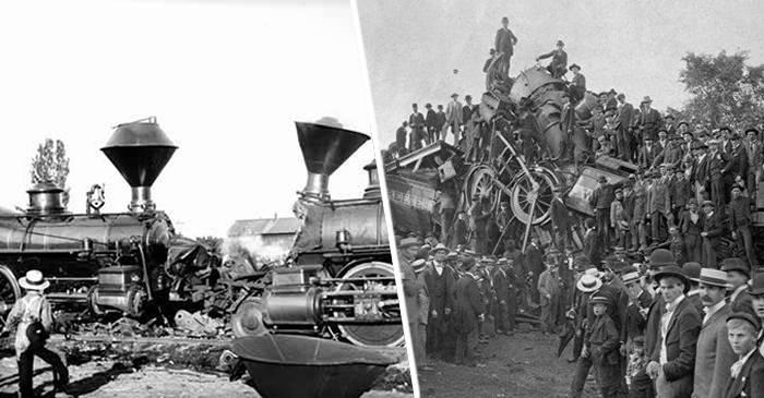 Ciocnirile frontale de locomotive - Trenurile distruse pentru distracție