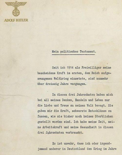 Testamentul lui Adolf Hitler
