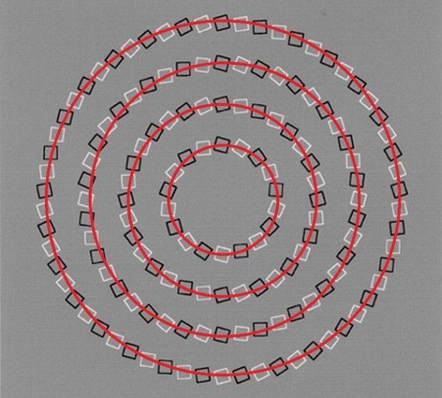 Iluzii optice - patru cercuri marcat